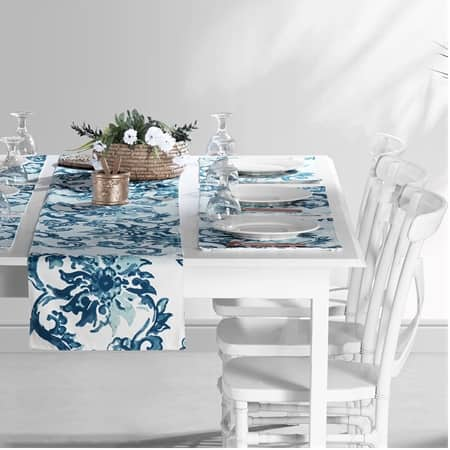 Indonesian Blue Printed Cotton Table Runner & Placemats