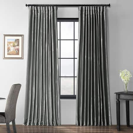 Polished Silver Blackout Extra Wide Faux Silk Taffeta Curtain