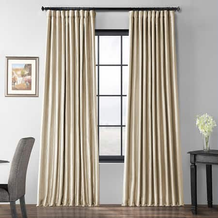 Glazed Parchment Blackout Extra Wide Faux Silk Taffeta Curtain