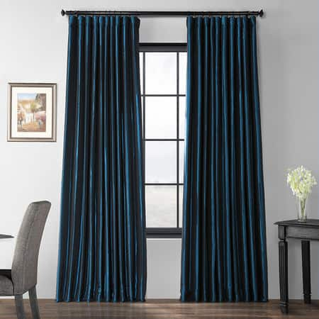 Glossy Cobalt Blackout Extra Wide Faux Silk Taffeta Curtain