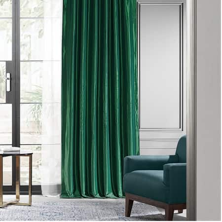 Emerald Green Blackout Faux Silk Taffeta Curtain