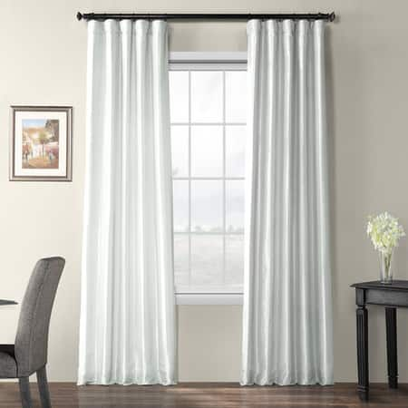 Feather Grey Blackout Faux Silk Taffeta Curtain