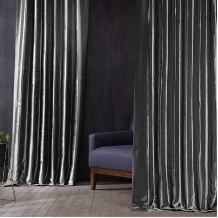 Signature Tablet Grey Faux Silk Taffeta Hotel Blackout Curtain