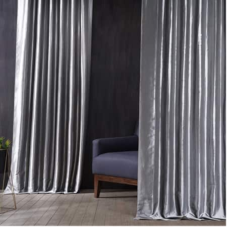 Signature Social Silver Faux Silk Taffeta Hotel Blackout Curtain