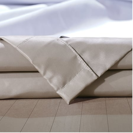 Signature Virtual Beige Faux Silk Taffeta Hotel Blackout Swatch