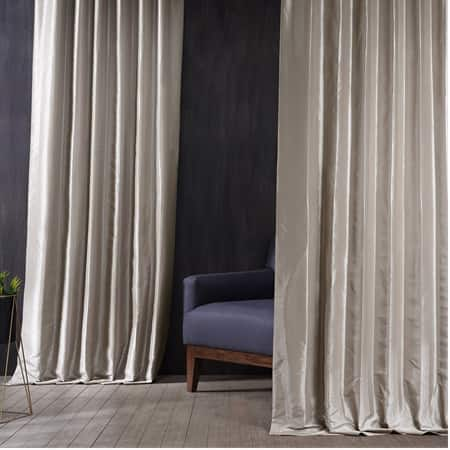 Signature Virtual Beige Faux Silk Taffeta Hotel Blackout Curtain