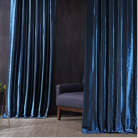 Signature Future Blue Faux Silk Taffeta Hotel Blackout Curtain