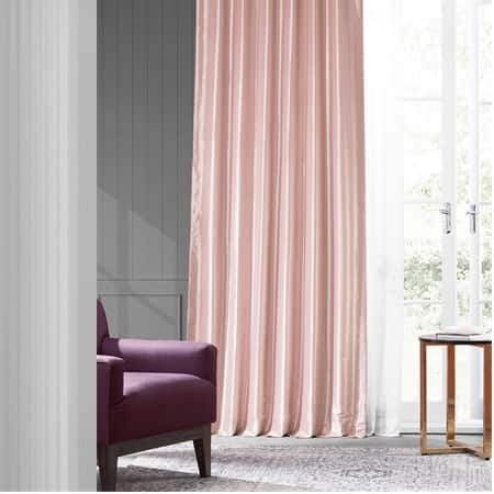 Salmon Rose Faux Silk Taffeta Curtain