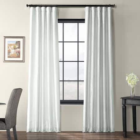 Feather Grey Faux Silk Taffeta Curtain