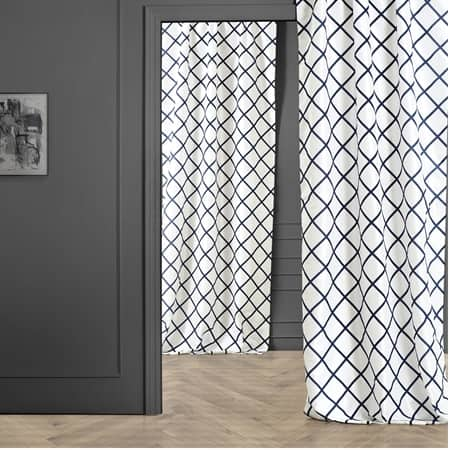 Pavillion White & Blue Designer Flocked Curtain