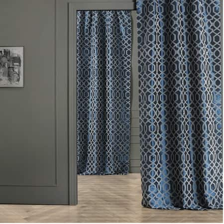 Filigree Blue & Grey Designer Flocked Curtain
