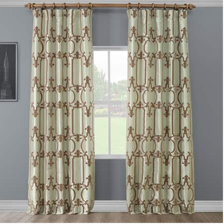 Royal Gate Green & Brown Designer Flocked Curtain