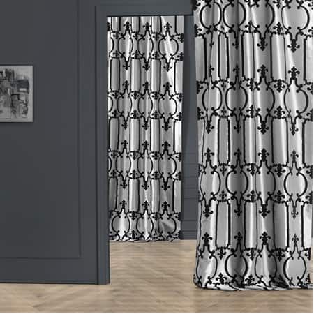 Royal Gate Silver & Black Designer Flocked Curtain