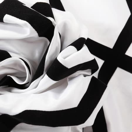 Pinnacle White & Black Flocked Faux Silk Swatch