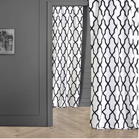Pinnacle White & Black Designer Flocked Curtain