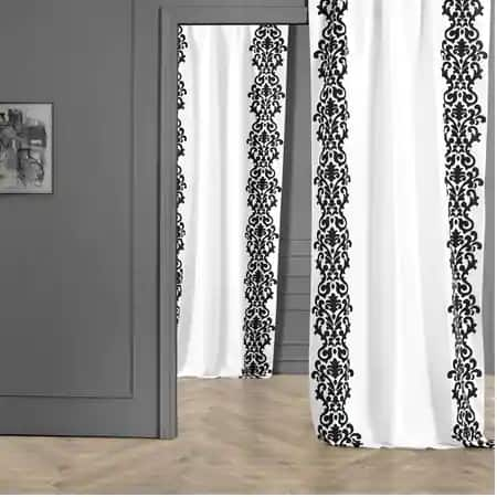 Castle White & Black Flocked Faux Silk Curtain