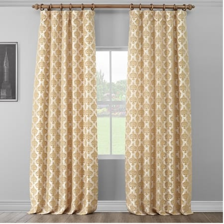 Beatrice Champagne Beige Designer Flocked Curtain