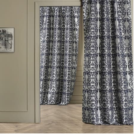 Firenze Grey & Blue Designer Flocked Curtain