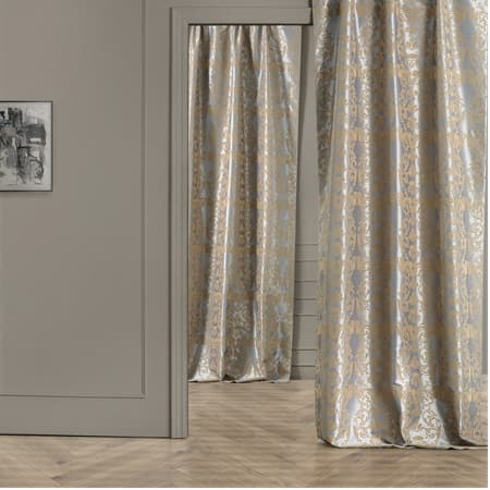 Firenze Grey & Gold Designer Flocked Curtain