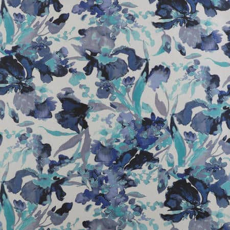 Watercolor Turquoise Printed Faux Silk Taffeta Blackout Swatch