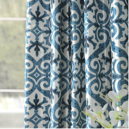 Iron Gate Blue Designer Printed Blackout Curtain