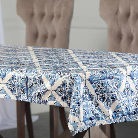 Tiera Blue Designer Faux Silk Taffeta Outdoor Table Cloth