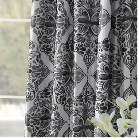 Tiera Grey Designer Printed Blackout Curtain