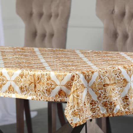 Tiera Gold Designer Faux Silk Taffeta Outdoor Table Cloth