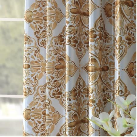 Tiera Gold Printed Faux Silk Taffeta Blackout Curtain