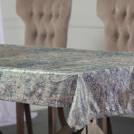 Wilton Blue Designer Faux Silk Taffeta Outdoor Table Cloth