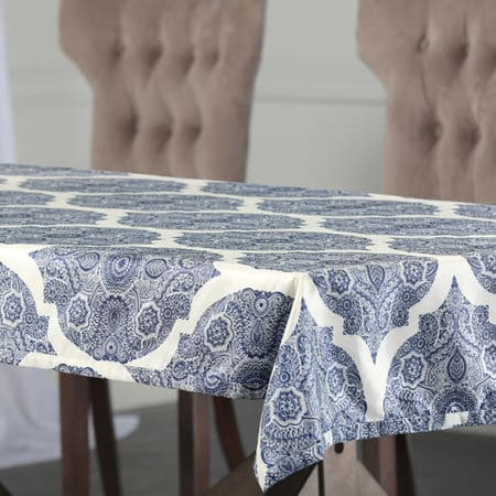 Royal Mendi Designer Faux Silk Taffeta Outdoor Table Cloth