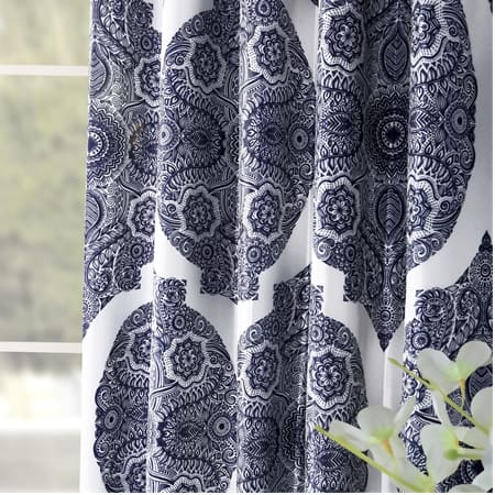 Royal Mendi Blue Designer Printed Blackout Curtain
