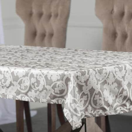 Rococo Grey Designer Faux Silk Taffeta Outdoor Table Cloth