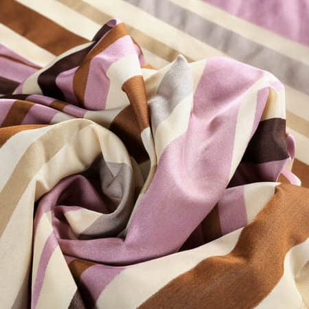 Milton Purple & Gold Designer Striped Faux Silk Swatch