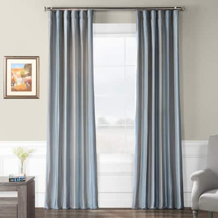 Eaton Blue & Grey Designer Striped Faux Silk Curtain