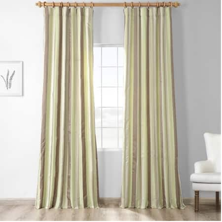 Cardiff Green Designer Striped Faux Silk Curtain