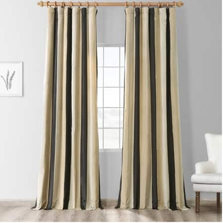 Sake Black & Gold Designer Striped Faux Silk Curtain