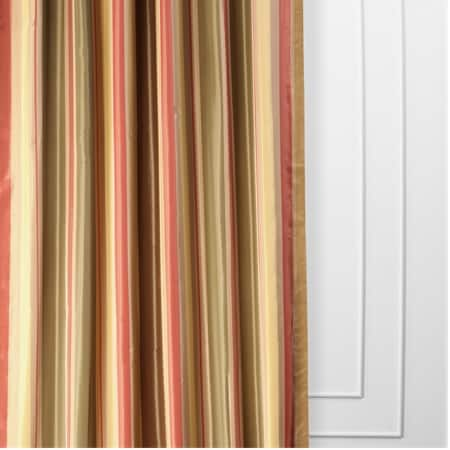 Mirage Gold, Green & Red Designer Striped Faux Silk Curtain
