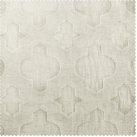 Calais Tile Patterned Faux Linen Sheer Swatch