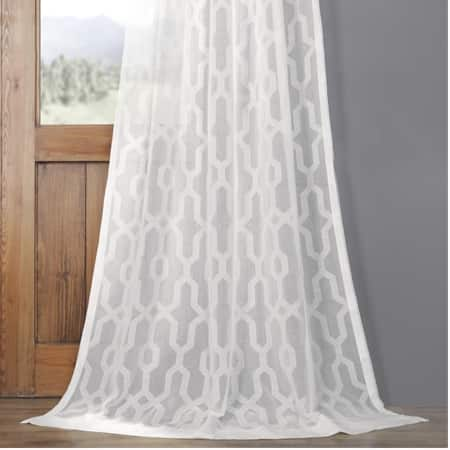 Limoges Geo White Patterned Faux Linen Sheer Curtain
