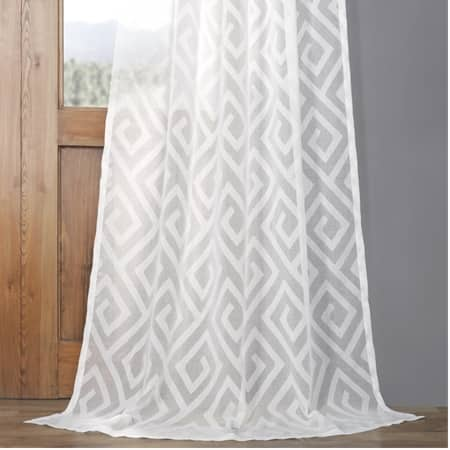 Toulouse Key Taupe Patterned Faux Linen Sheer Curtain