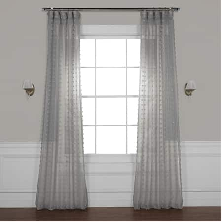 Strasbourg Dot Grey Patterned Linen Sheer Curtain