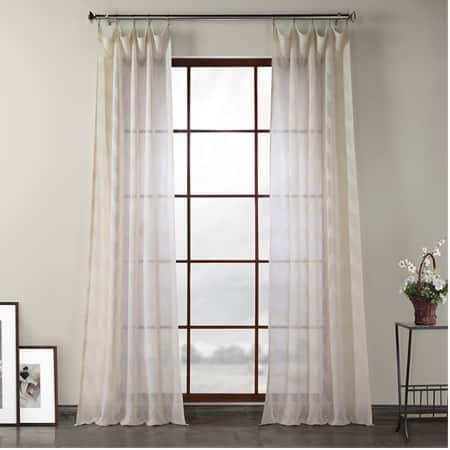 Sirius Beige Patterned Linen Sheer Curtain