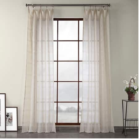 Polaris Tan Patterned Linen Sheer Curtain
