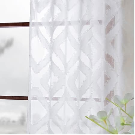 Capella White Patterned Linen Sheer Curtain