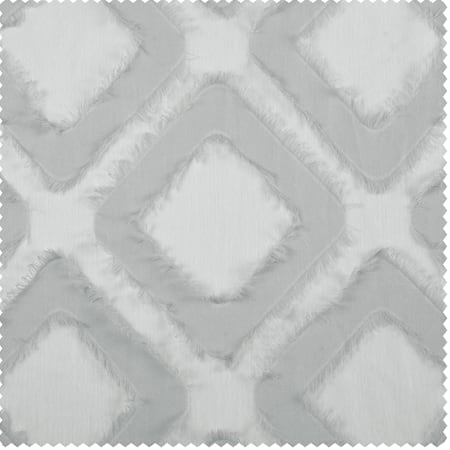 Capella Silver Patterned Linen Sheer Swatch