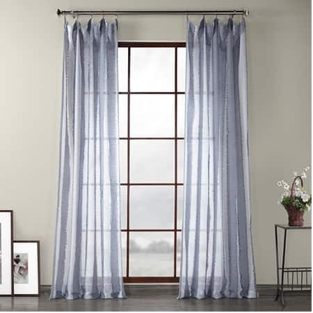 Antares Blue Patterned Linen Sheer Curtain