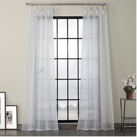 Altair Blue Patterned Linen Sheer Curtain