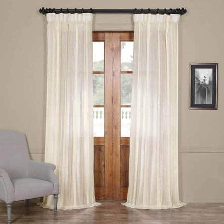 Antigua Off White Striped Linen Sheer Curtain