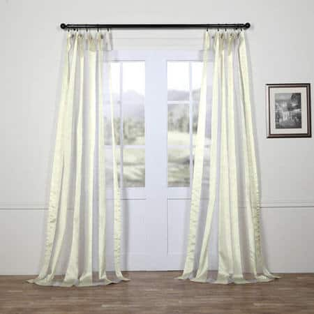 Gloss White Organza Vertical Stripe Sheer Curtain